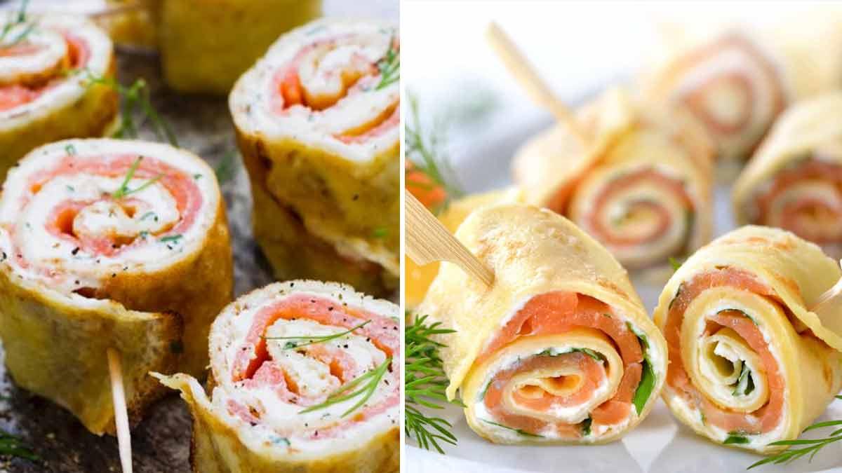 Bouchées apéritives la meilleure recette de crêpes savoureuses farcies au saumon fumé, crudité et fromage blanc à l'aneth